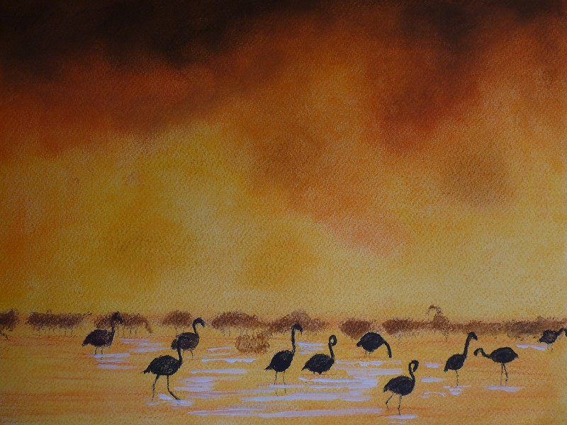 Cranes at sunset (original painting for sale)
