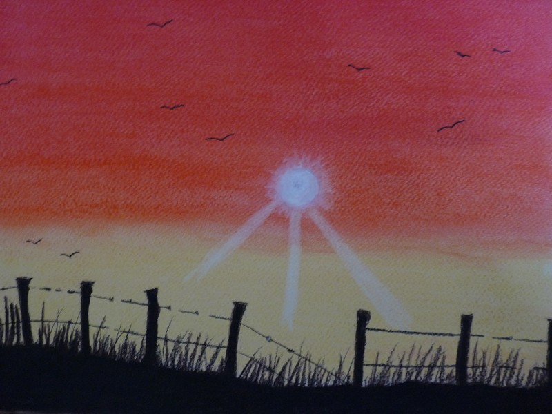 sunrise over the fence (original painting for sale)