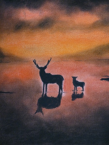 Stags at sunset (original painting for sale)