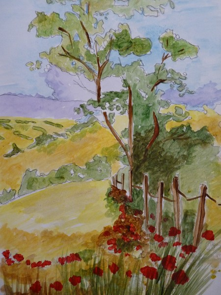 Tree and fields (original Painting for sale)