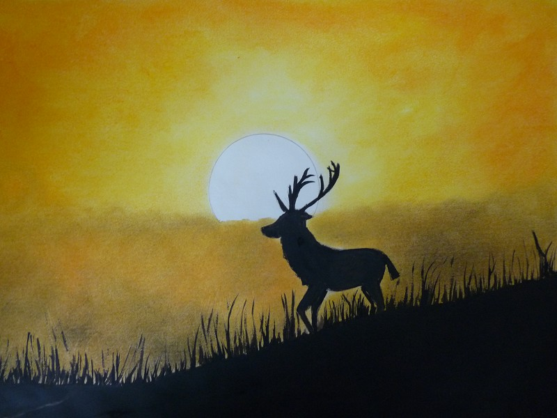 stag in silhouette (original painting for sale)